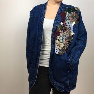 vintage boho embroidered applique denim jacket